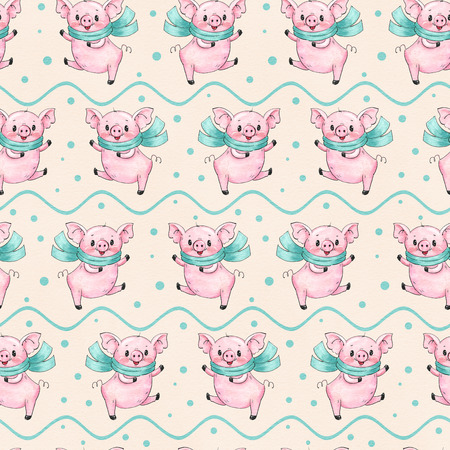Seamless pattern with cute cartoon pigs.  Drawing in watercolor and ink.