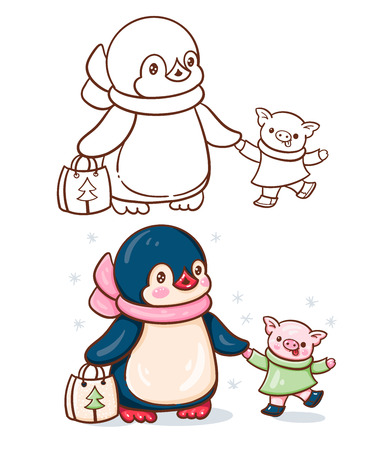 Winter illustration with funny cartoon penguin with pig. Painted and monochrome version. Vector.