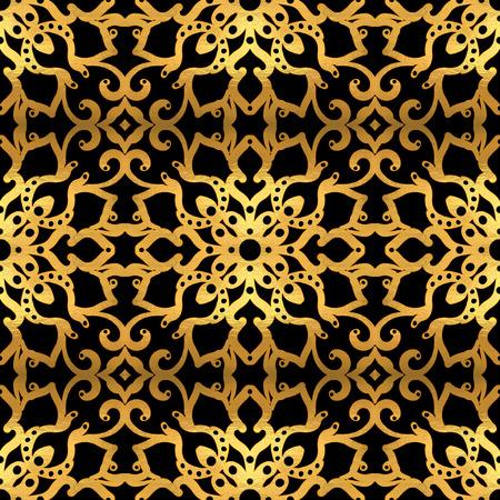 Gold seamless pattern on black background.  Hand-drawn illustration.