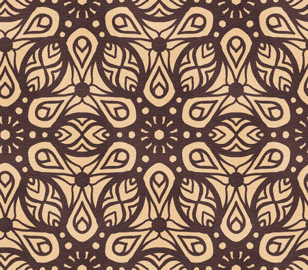 Seamless pattern with arabesques in retro style. Hand-drawn illustration.