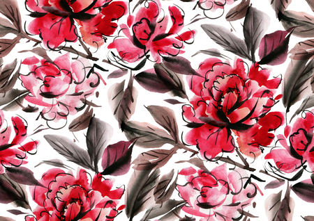 Seamless pattern with red  watercolor flowers on white background. Hand-drawn illustration.