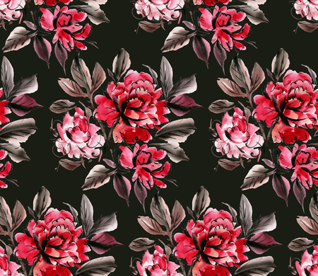 Seamless pattern with red  watercolor flowers on black background. Hand-drawn illustration.