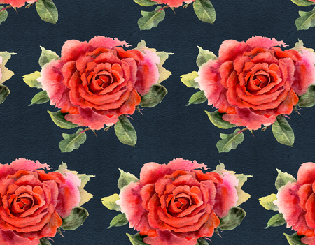 Seamless pattern with red  watercolor roses on black background. Hand-drawn illustration.