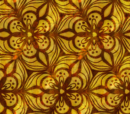 Gold seamless pattern with arabesques. Hand-drawn illustration. Stock Photo