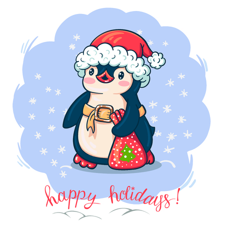 Winter illustration with funny cartoon penguin with a gift. Vector.