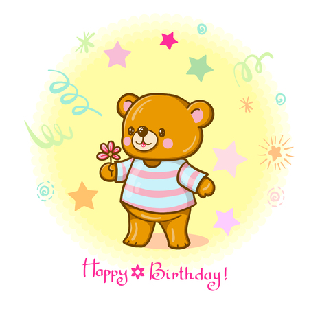 "Funny cartoon bear. Greeting card ""Happy birthday"". Vector illustration"
