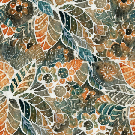 The intricate batik pattern with texture of fabric. Seamless pattern. Hand-drawn illustration. 写真素材