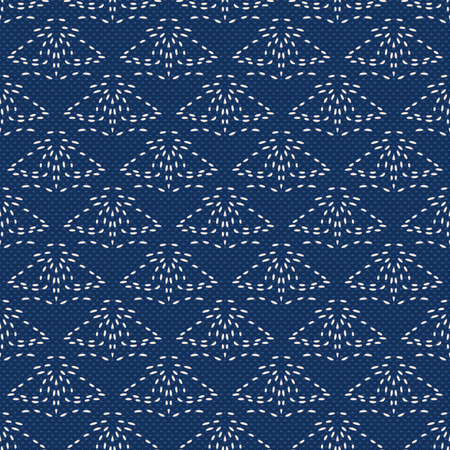 Imitation of Japanese embroidery with white threads on Indigo fabric. Seamless pattern. Vector.