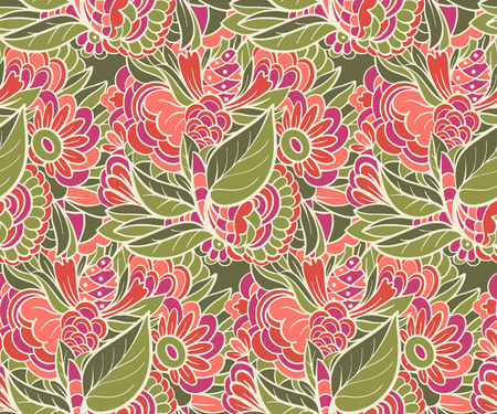 Seamless pattern with Flowers. The drawing for light summer fabrics or wrapping paper. Hand-drawn illustration. Vector. Иллюстрация