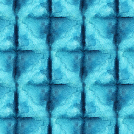 Modelo del teñido anudado sin fisuras de color azul sobre seda blanca. Telas para pintar a mano - batik nodular. Teñido Shibori. Foto de archivo