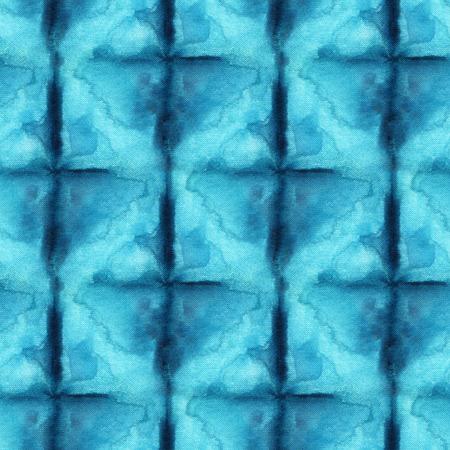 Seamless pattern tie-dye di colore blu su seta bianca. Tessuti per pittura a mano - batik nodulare. Tintura Shibori. Archivio Fotografico