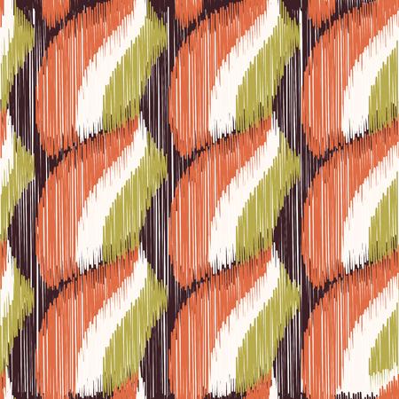 Modello Ikat senza soluzione di continuità. Sfondo astratto per design tessile, carta da parati, trame di superficie, carta da imballaggio. Vettoriali