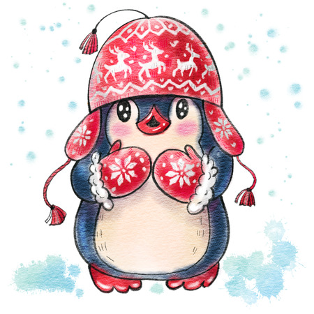 Winter illustration with funny cartoon penguin in a warm hat,  isolated on a white background. Drawing in watercolor and ink. Stok Fotoğraf