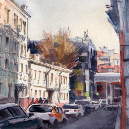 Urban sketch.  Street in the city centre. Watercolor illustration.