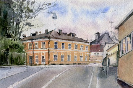 Urban sketch.  Street in the city centre. Watercolor illustration 스톡 콘텐츠