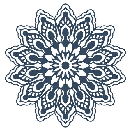 Monochrome mandala isolated on white background.  Hand-drawn illustration. Vector.