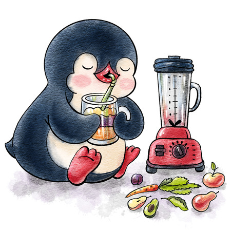 Cute Penguin and smoothie.  Hand-drawn illustration. Watercolor Standard-Bild - 122315209