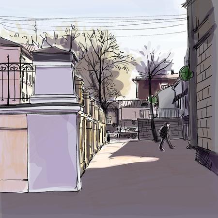 City landscape.  Vector sketch.  Hand-drawn illustration. Иллюстрация