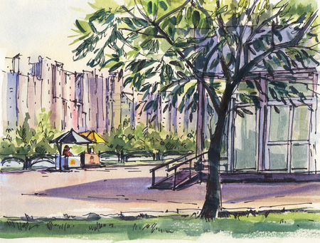 Summer landscape.  City park. Watercolor. Hand-drawn illustration.