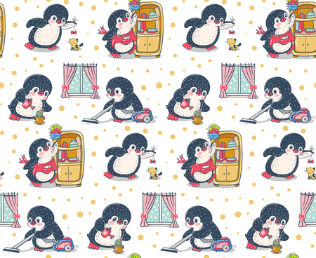 Seamless pattern with cute penguins. House cleaning. Hand-drawn illustration. Vector. Векторная Иллюстрация
