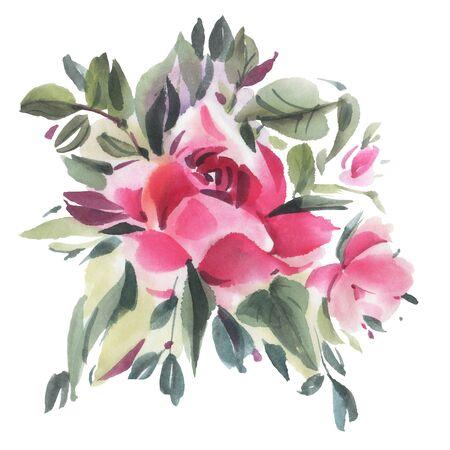 Fleurs aquarelles isolés sur fond blanc. Illustration dessinée à la main. Banque d'images