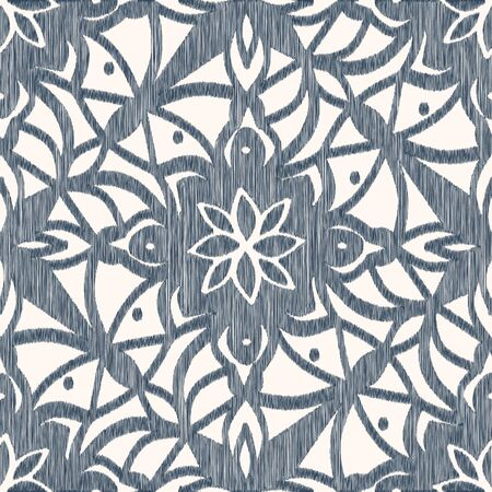 Black and white seamless pattern with Ikat style. The drawing with rhombuses.  Vector illustration Ilustrace