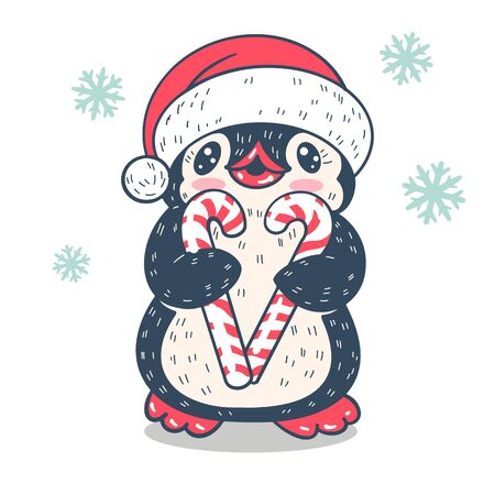 Winter illustration. Funny cartoon penguin with   candys canes.  Vector. Ilustrace