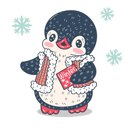 Winter illustration. Funny cartoon penguin  with a letter. Vector.