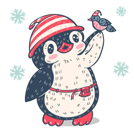 Winter illustration.  Funny cartoon penguin with bullfinch. Vector.