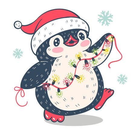 Winter illustration.  Funny cartoon penguin with a garland of glowing bulbs. Vector.