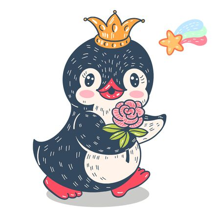 Illustration with funny cartoon penguin  in a crown and rose. Vector.