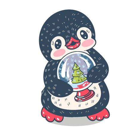 Winter illustration.  Funny cartoon penguin  with Christmas glass ball. Vector.