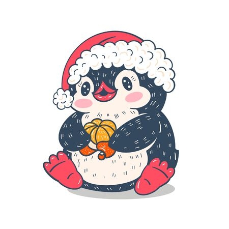 Winter illustration.  Funny cartoon penguin with tangerine. Vector.