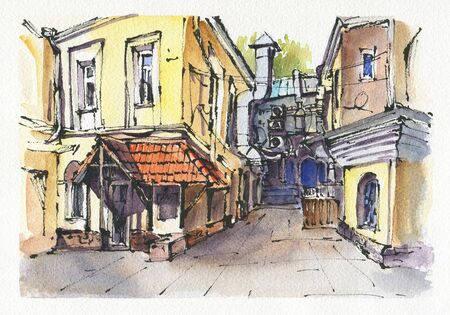 City landscape.  Sketch ink and watercolor. Hand-drawn illustration. 写真素材 - 128526692