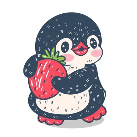 Funny cartoon penguin with strawberries,  isolated on white background.  Vector  illustration. Фото со стока