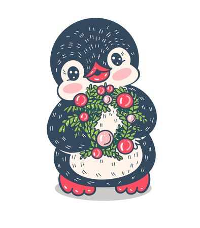 Winter illustration with funny cartoon penguin  with Christmas tree wreath,  isolated on white background. Vector.
