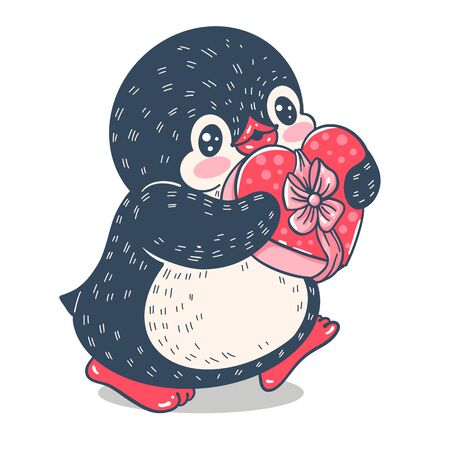 Funny cartoon penguin with a gift  isolated on white background.  Vector  illustration.