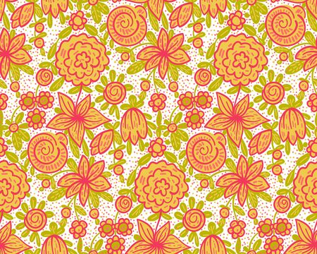 Seamless pattern  with flowers in doodle style. Vector illustration.