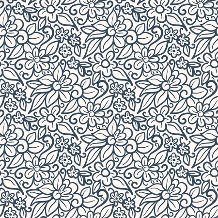 Black and white seamless pattern with flowers.  Vector illustration