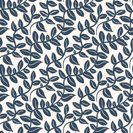 Black and white  seamless pattern with leaves. Vector illustration.