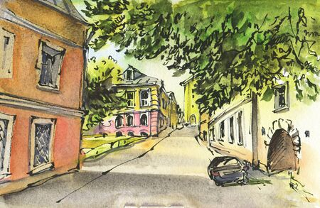 City landscape.  Sketch ink and watercolor. Hand-drawn illustration. Archivio Fotografico - 128992677