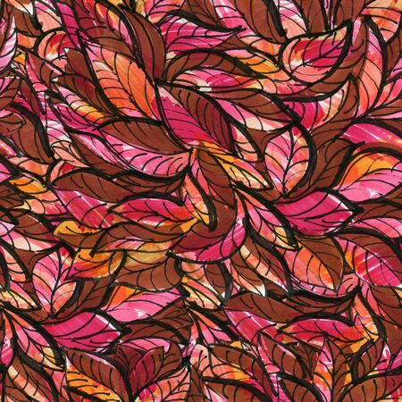 Seamless pattern with red leaves. Drawing with markers. Hand-drawn illustration. Stockfoto