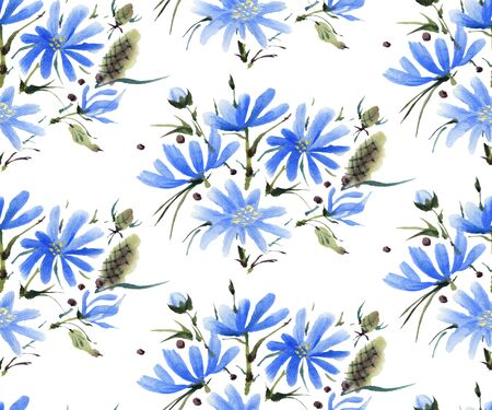 Seamless pattern with blue  watercolor flowers. Hand-drawn illustration.
