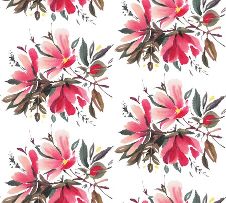 Seamless pattern with  red watercolor flowers. Hand-drawn illustration.