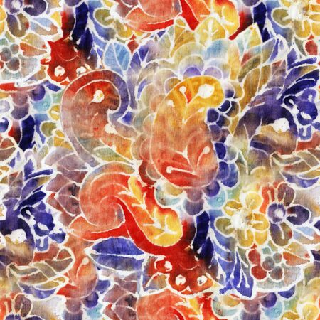 Paisley. The intricate batik pattern with texture of fabric. Seamless pattern. Hand-drawn illustration.