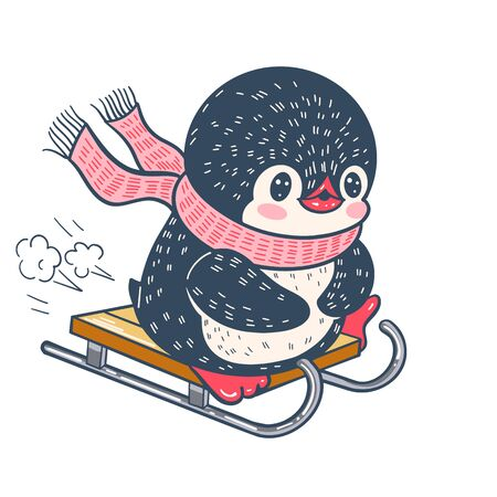 Winter illustration with funny cartoon penguin on a sledge. Vector.