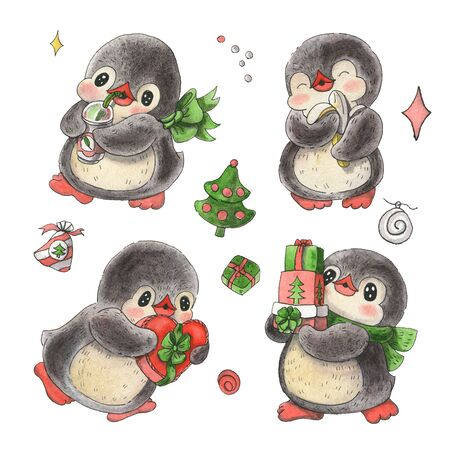 Set of cute cartoon penguins isolated on white background.  Drawing in watercolor and ink.