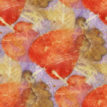 Seamless Botanical print with leaf prints on natural silk. Hand-drawn illustration.