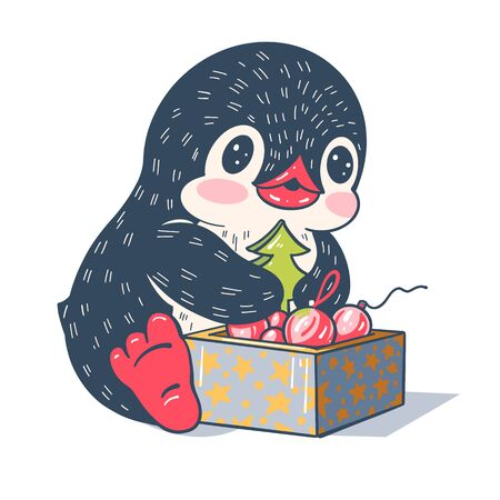 Winter illustration. Funny cartoon penguin with a gift. Vector.