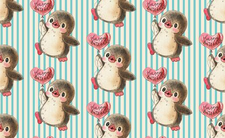 Seamless pattern. Cute penguins with balloons.  Hand-drawn drawing with watercolor and ink.